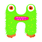 Funny furry monster letter H, english alphabet vector element isolated on a white background