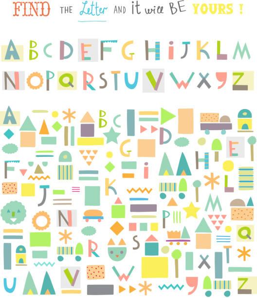 bildbanksillustrationer, clip art samt tecknat material och ikoner med funny game for kids. cute alphabet. isolated. vector - förskolebyggnad