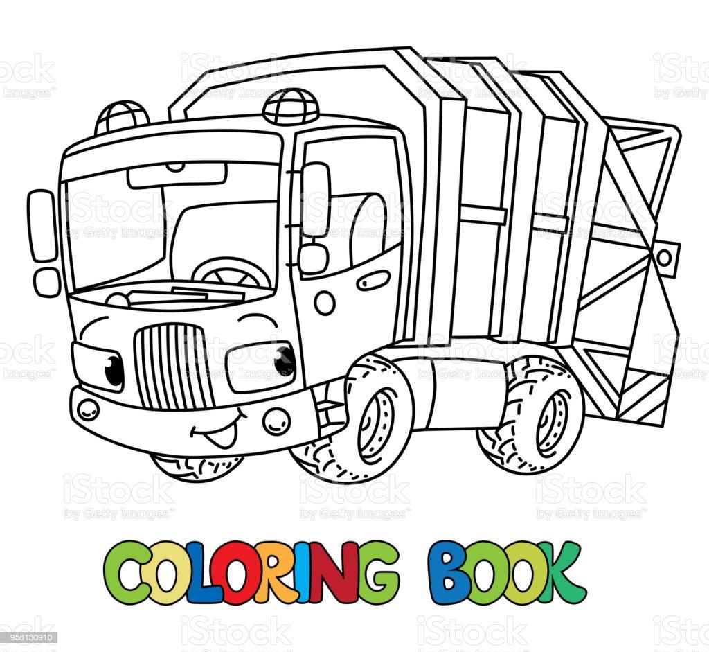 Komik çöp Kamyonu Araba Gözleri Olan Boyama Kitabı Stok Vektör