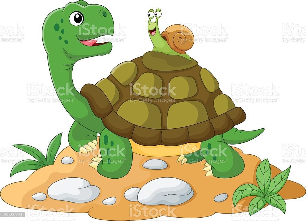 Funny garden snail taking a lift on a turtle's back vector art illustration