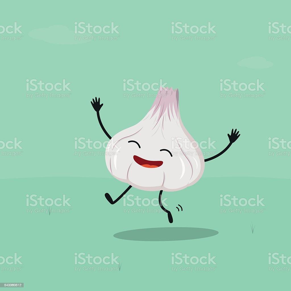 Funny garlic. Vector cartoon character - ilustração de arte em vetor