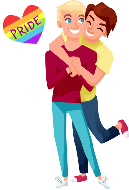 funny gay couple vector illustration - 同性カップル点のイラスト素材/クリップアート素材/マンガ素材/アイコン素材