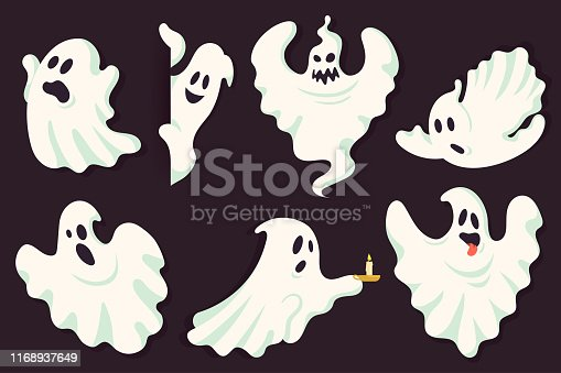 Funny ghost character collection in different poses. White flying spooky halloween ghost silhouette isolated on dark background. Scary ghostly monster. Traditional festive element for your design.