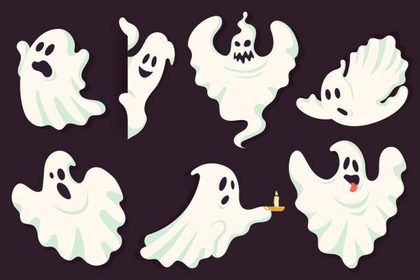 Funny ghost character collection in different poses. White flying spooky halloween ghost silhouette isolated on dark background. Scary ghostly monster. Traditional festive element for your design. Funny ghost character collection in different poses. White flying spooky halloween ghost silhouette isolated on dark background. Scary ghostly monster. Traditional festive element for your design. ghost icon stock illustrations