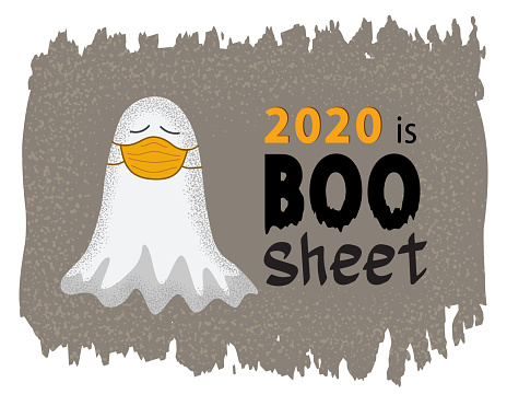 Funny ghost in medical face mask. 2020 is boo sheet vector concept.