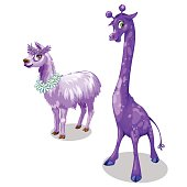 Funny giraffe and Lama in purple color. Vector