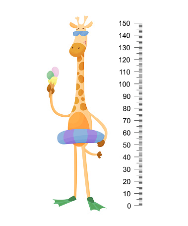 Funny giraffe. Cheerful funny giraffe with long neck. Giraffe meter wall or height chart or wall sticker. Illustration with scale from 2 to 150 centimeter to measure growth