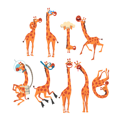 Funny Giraffe Collection, Crazy African Animal Cartoon Character in Various Poses Vector Illustration