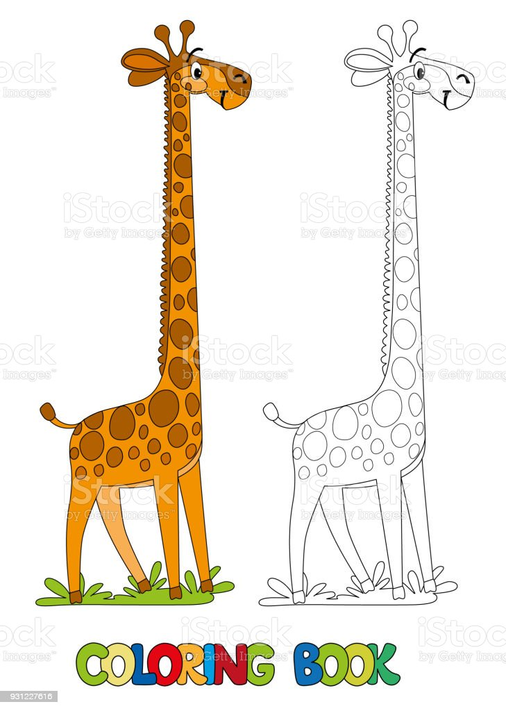 Funny Giraffe Coloring Book Stock Illustration Download Image