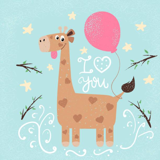lustige giraffe abbildung. drucken sie für sie idee. - giraffenkostüm stock-grafiken, -clipart, -cartoons und -symbole