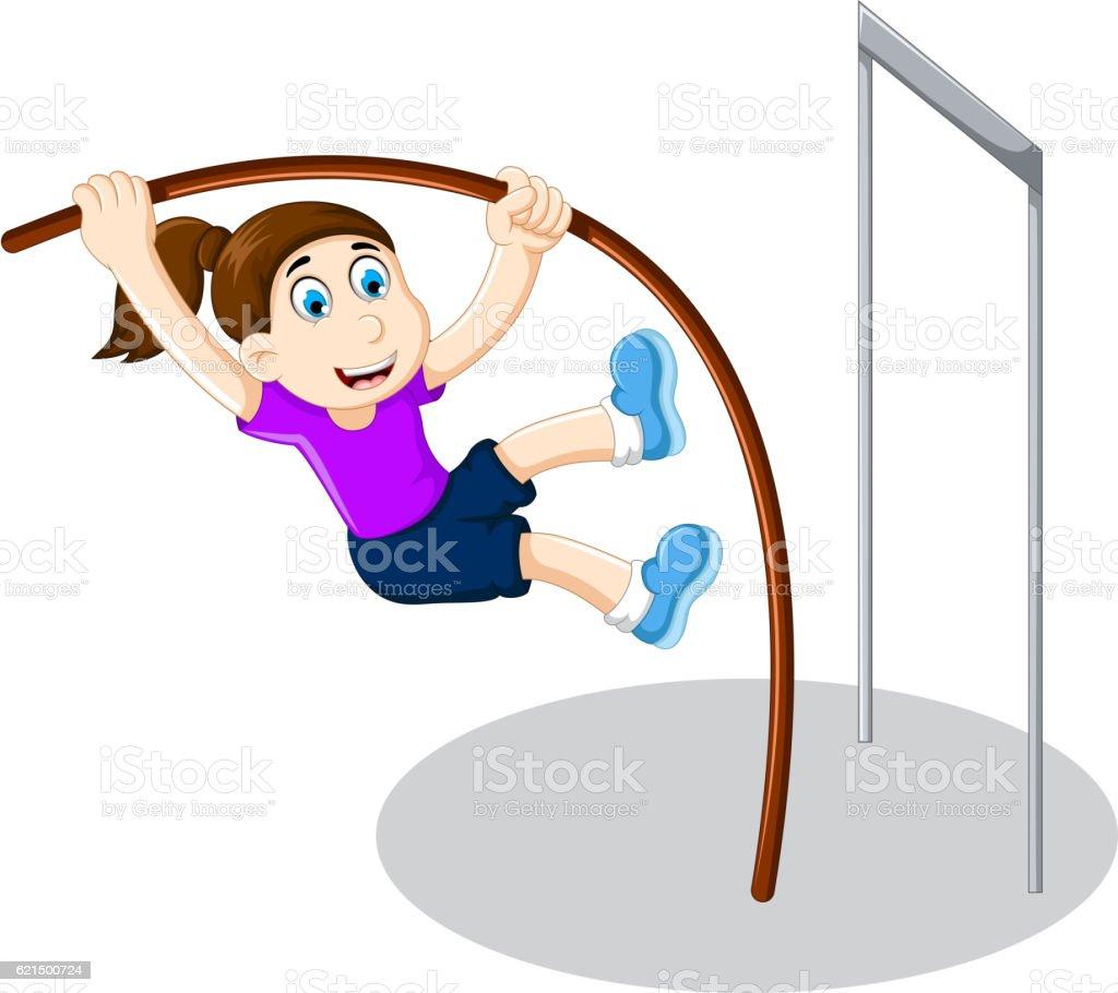 funny girl cartoon playing high jump funny girl cartoon playing high jump – cliparts vectoriels et plus d'images de adolescent libre de droits