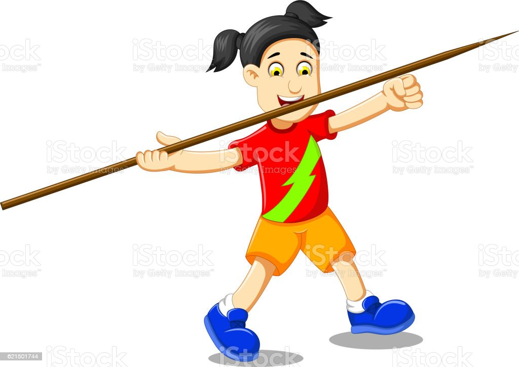 funny girl cartoon playing javelin funny girl cartoon playing javelin – cliparts vectoriels et plus d'images de athlète - athlétisme libre de droits