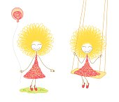 Two scenes with funny girl in pink dress with balloon in her hands and on swing, on white background