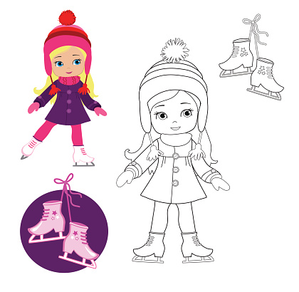Funny girl in winter clothes on skates  on a white background.