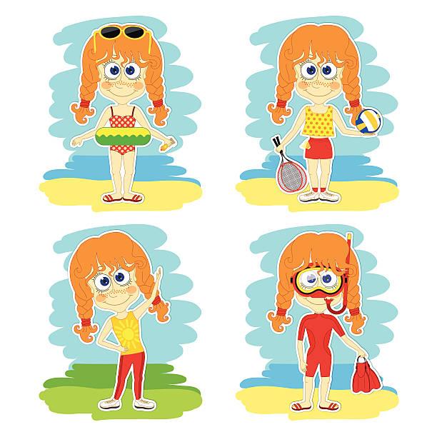 illustrations, cliparts, dessins animés et icônes de funny girl est en vacances - femme tache de rousseur