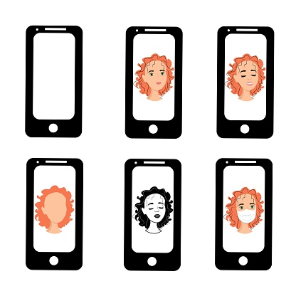 Funny girl on the phone screen. Emotions of a woman on the screensaver of a smartphone. Remote communication using gadgets. Stock vector illustration for business, internet, social networks.