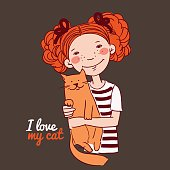 Funny girl with a cat