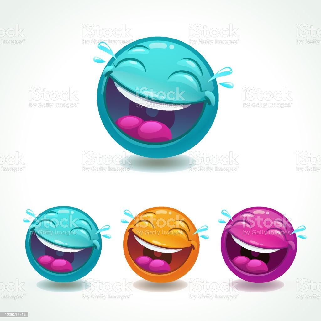 Funny glossy comic round character. Laughing face emoji. vector art illustration
