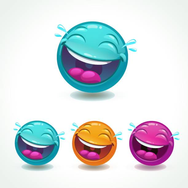funny glossy comic round character. laughing face emoji. - tears of joy emoji stock illustrations, clip art, cartoons, & icons