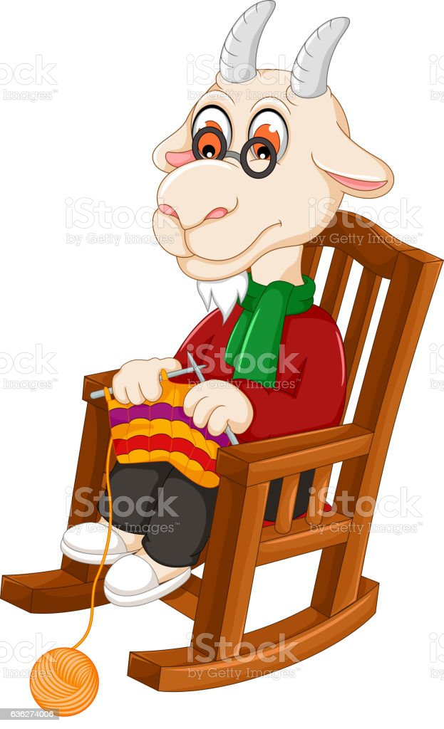 Funny goat cartoon knitting on a rocking chair stock