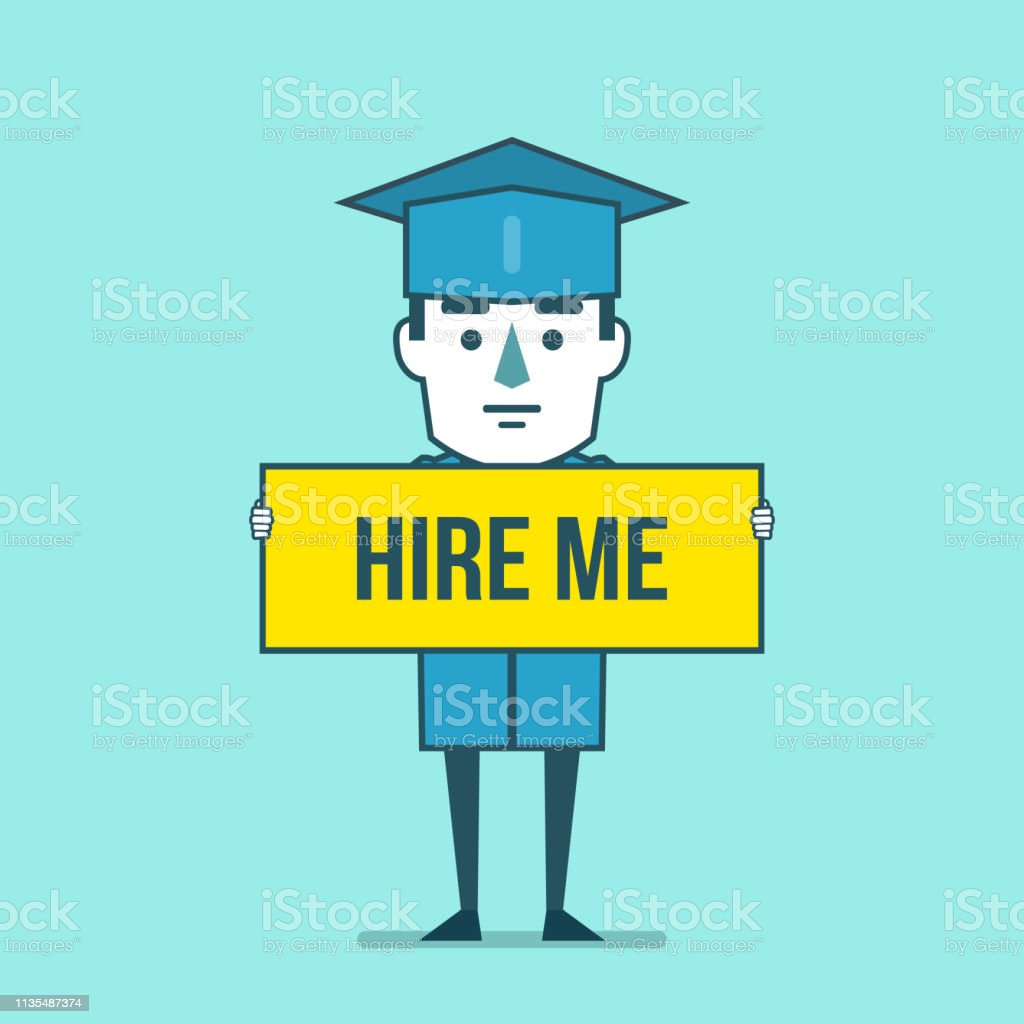 Funny Graduate Student Holds Yellow Banner With Hire Me Text Job Search After Graduation Concept Stock Illustration Download Image Now Istock