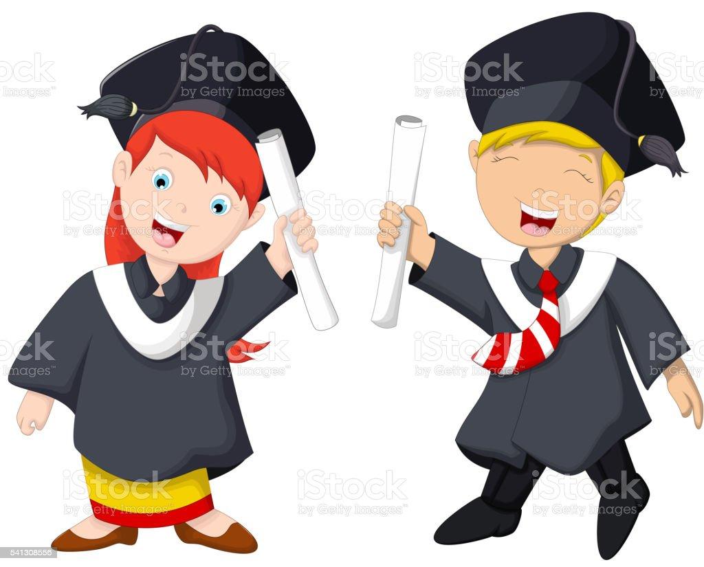 funny graduation celebration cartoon vector art illustration