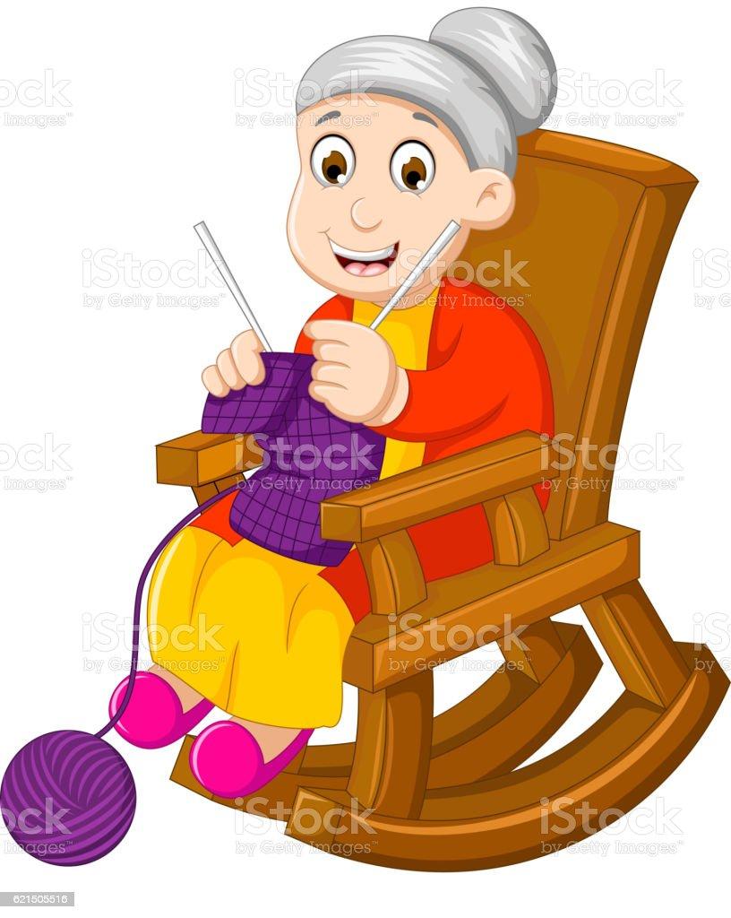 funny grandmother cartoon knitting in a rocking chair funny grandmother cartoon knitting in a rocking chair - immagini vettoriali stock e altre immagini di adulto royalty-free
