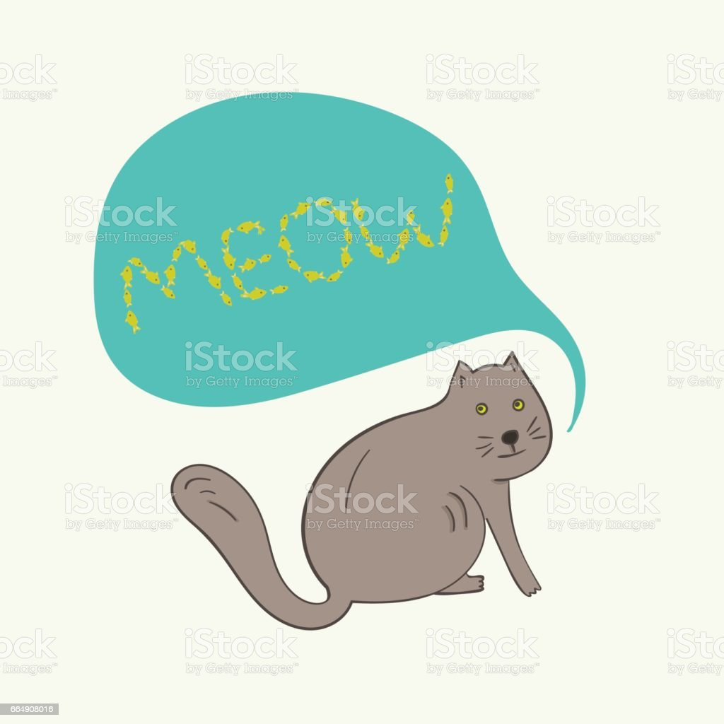 Funny gray cat with meow text in bubble vector art illustration