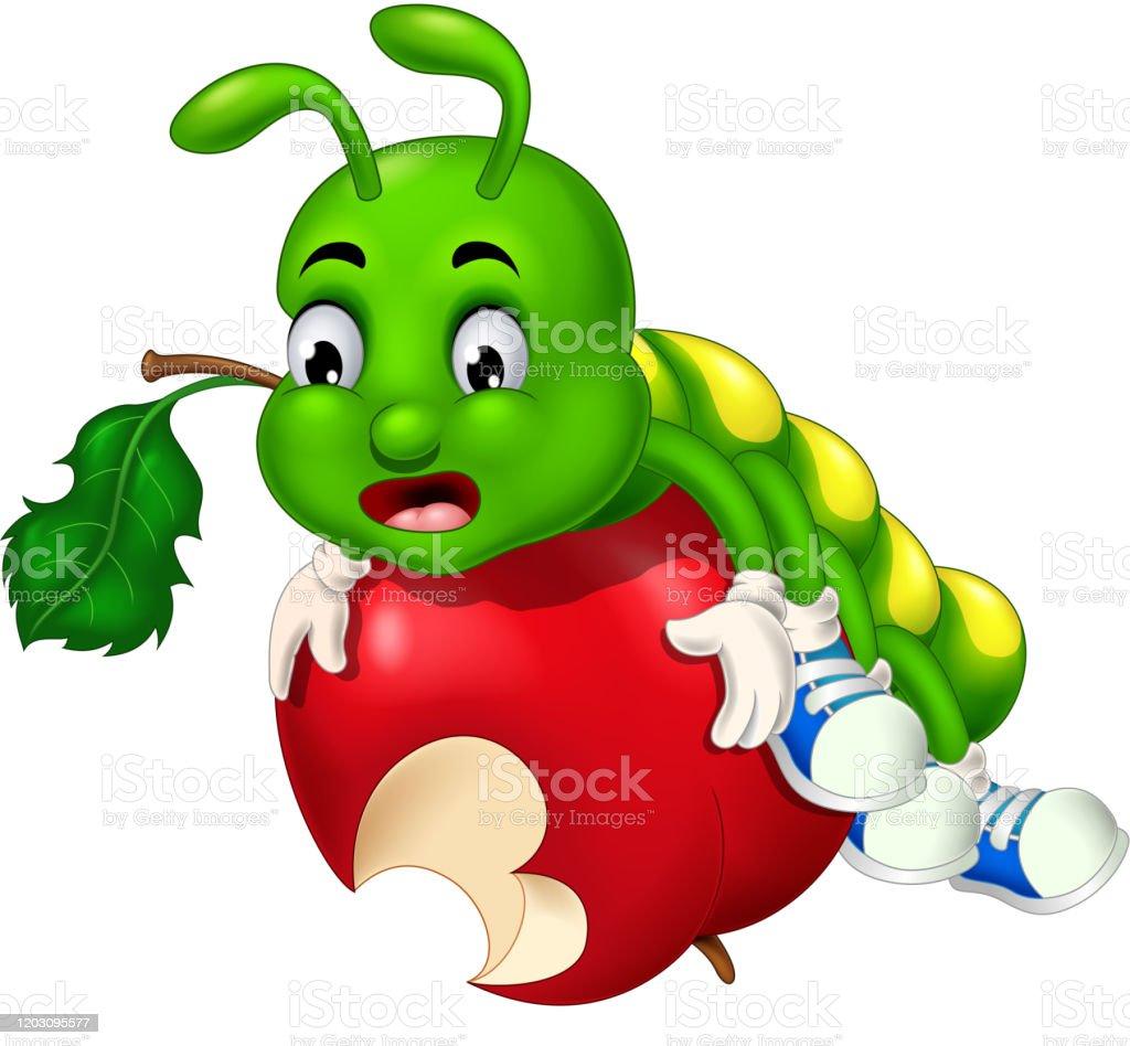 Funny Green Caterpillar On Red Bitten Apple Cartoon Stock