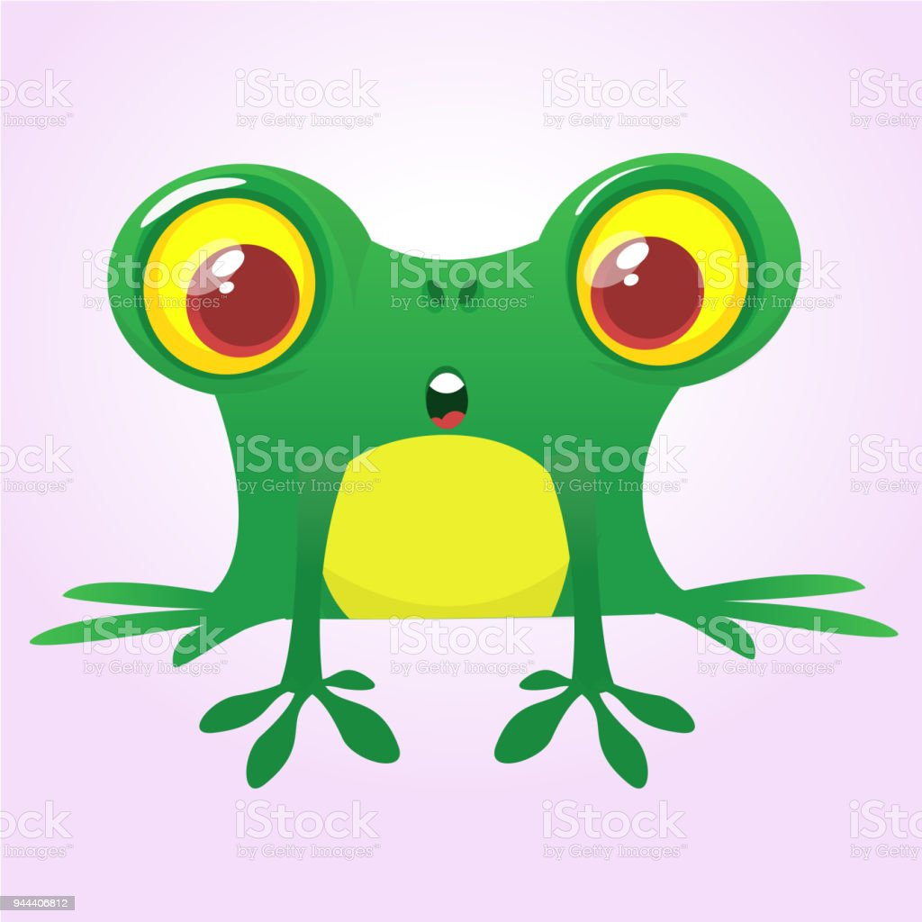 funny green frog character in cartoon style vector illustration rh istockphoto com Cute Frog Silhouette Vector The Crocodile