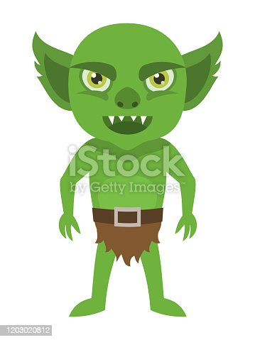 Cartoon goblin character isolated on white background, vector illustration.