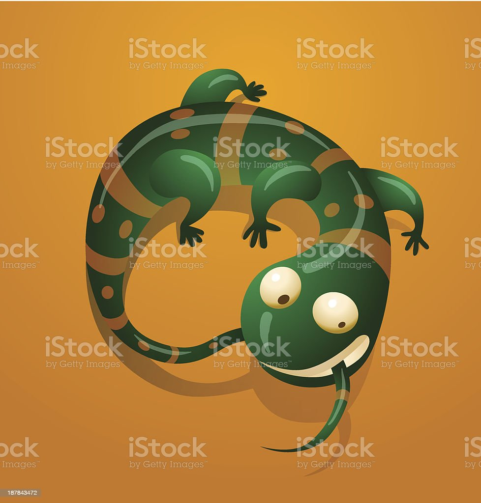 Funny green lizard in yellow stripes and spots royalty-free stock vector art