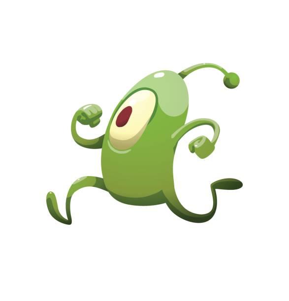 Funny green microbe running somewhere vector art illustration