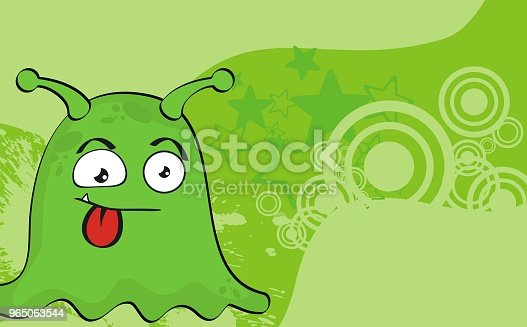Funny Green Monster Cartoon Expression Background Stock Vector Art & More Images of Caricature 965063544
