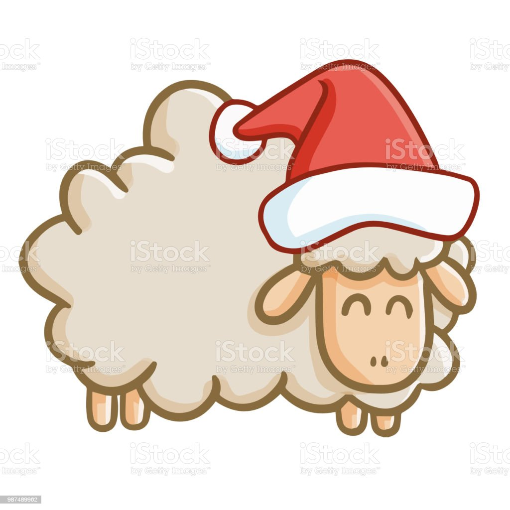 Lustige Graue Schafe Tragen Die Weihnachtsmütze Für Weihnachten ...