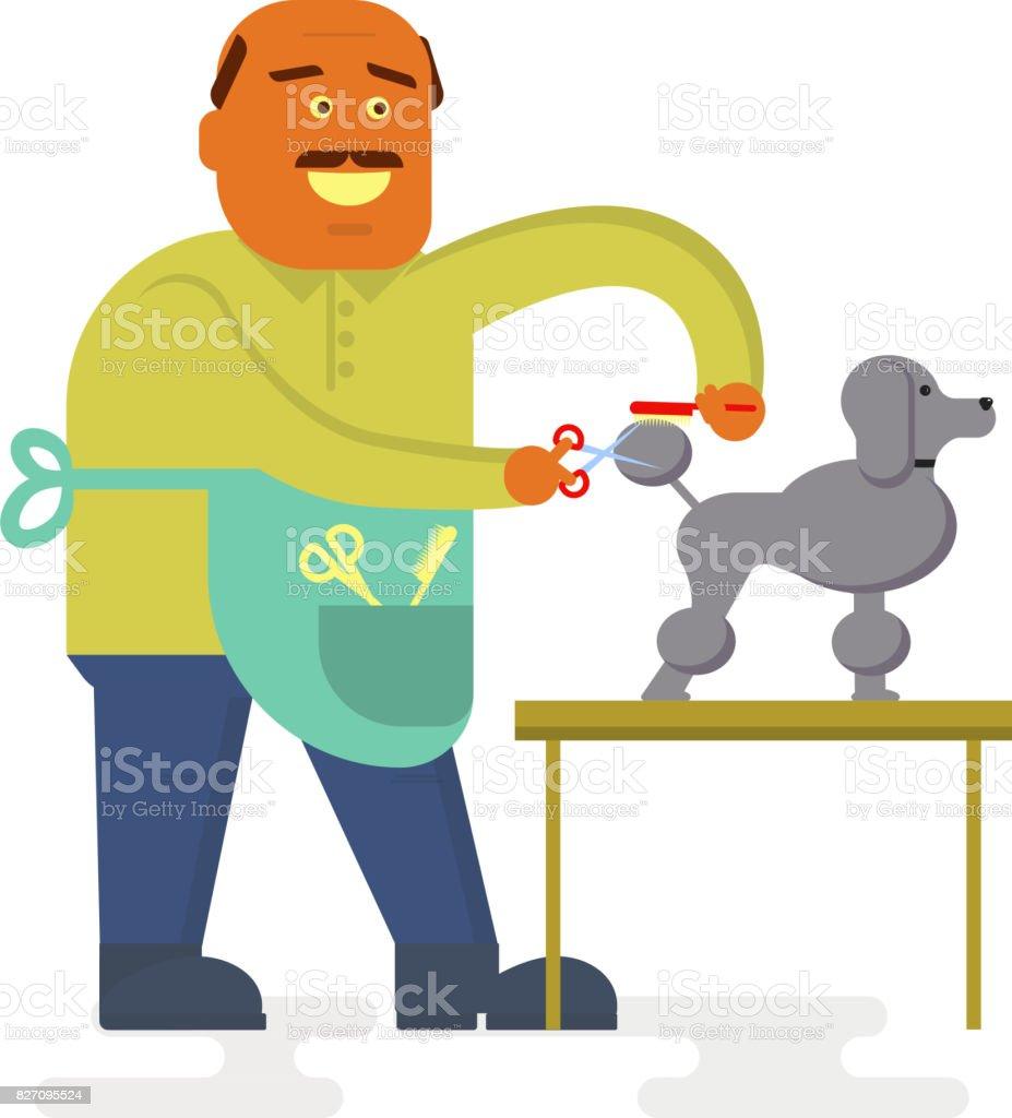 Funny Groomer character vector art illustration