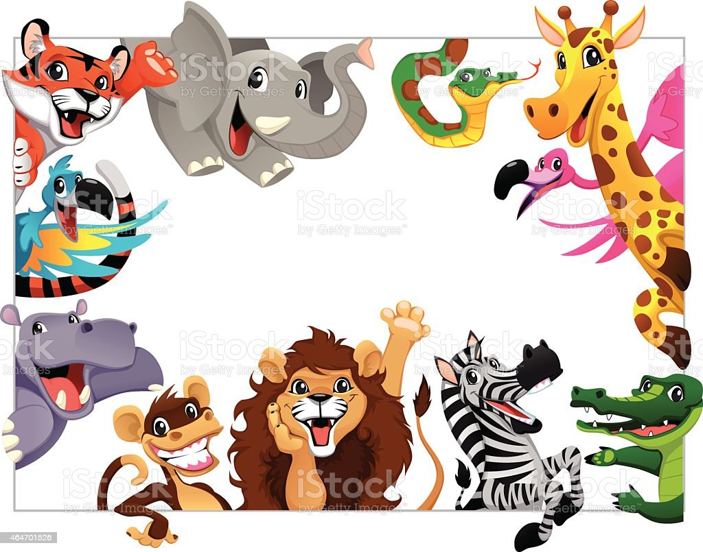 Funny group of Jungle animals vector art illustration