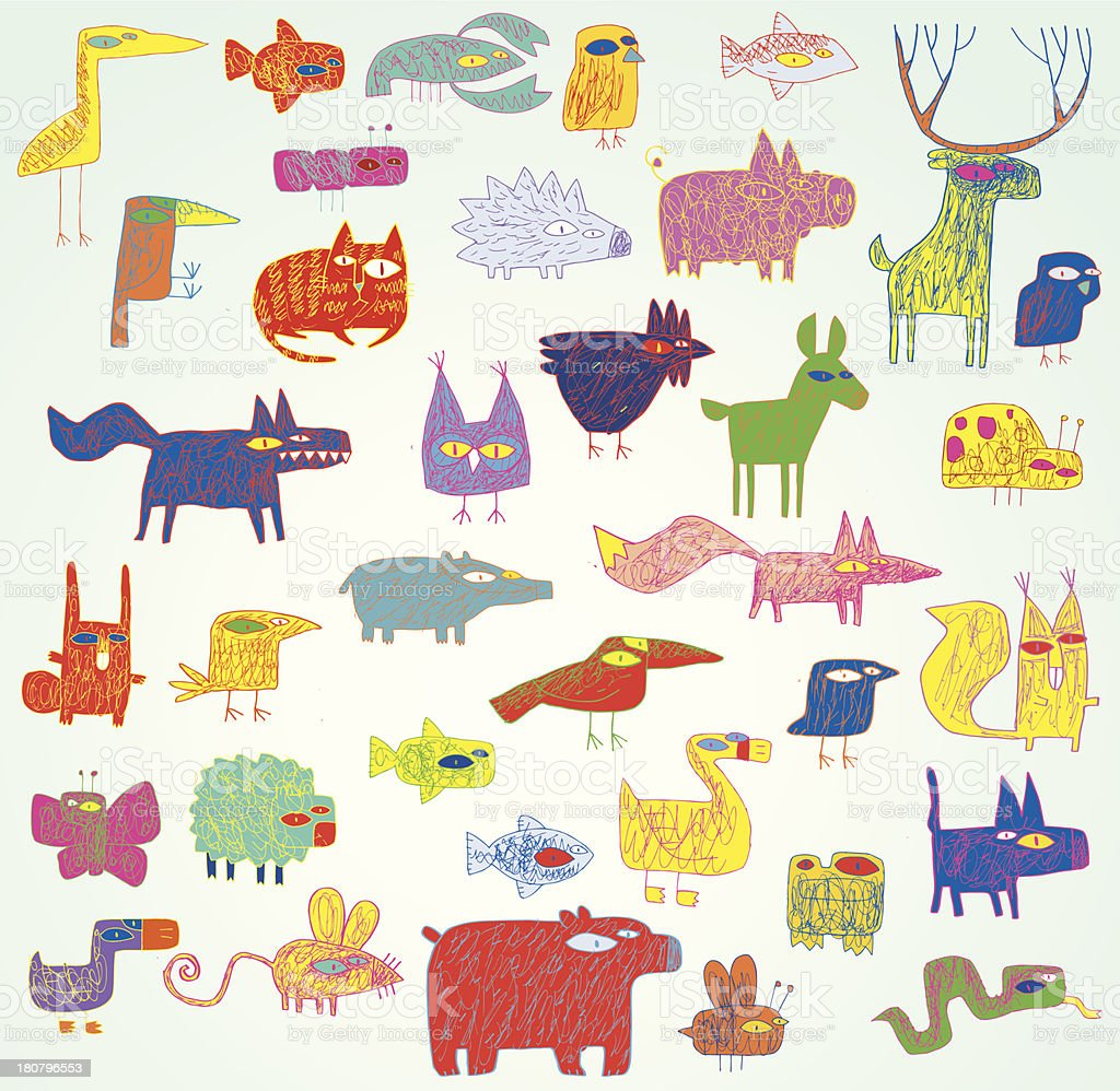Funny Grunge Doodled Animals Collection in pop-art royalty-free stock vector art