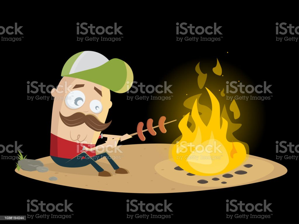 funny guy grilling sausages at the campfire vector art illustration