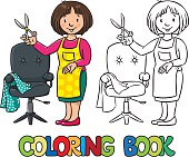 Funny hairdresser. Coloring book.