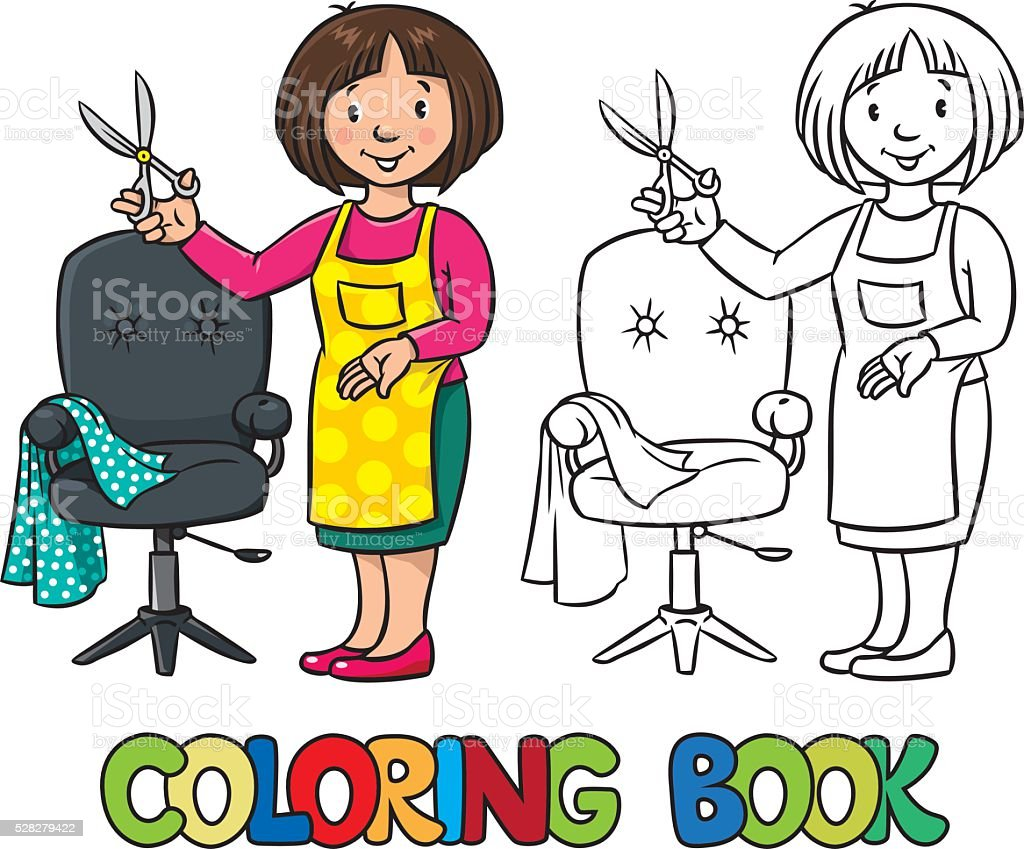 Funny hairdresser. Coloring book. vector art illustration