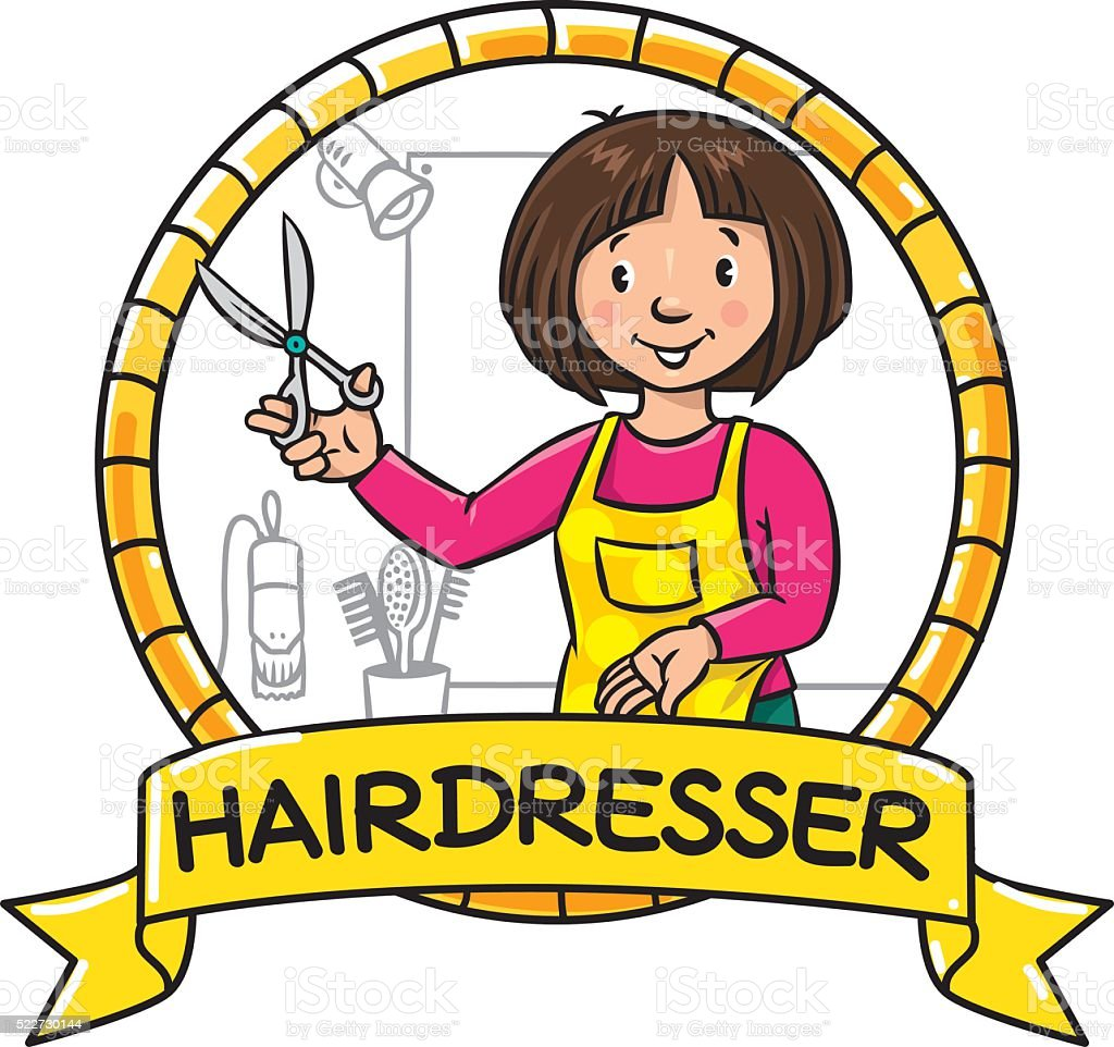 Funny hairdresser. Emblem. Profession ABC series vector art illustration