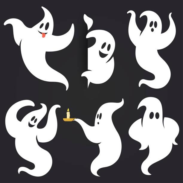 zabawny duch halloween osadzony w różnych pozach. biała latająca upiorna sylwetka ducha odizolowana na ciemnym tle. tradycyjny świąteczny element twojego projektu. ilustracja wektorowa. - upiorny stock illustrations
