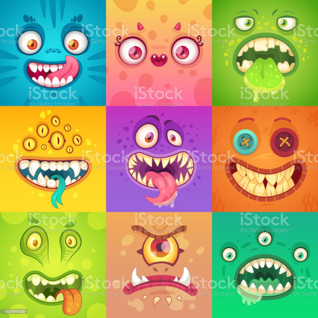 Funny Halloween Monsters Cute And Scary Monster Face With Eyes And Mouth  Strange Creature Mascot Character Vector Illustration Set Stock  Illustration - Download Image Now - iStock