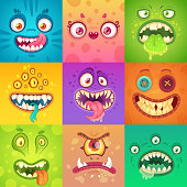 Funny halloween monsters. Cute and scary monster face with alien creatures, beast eyes and tooth toy mouth. Strange creature animal mascot ugly demon character vector illustration icons collage set