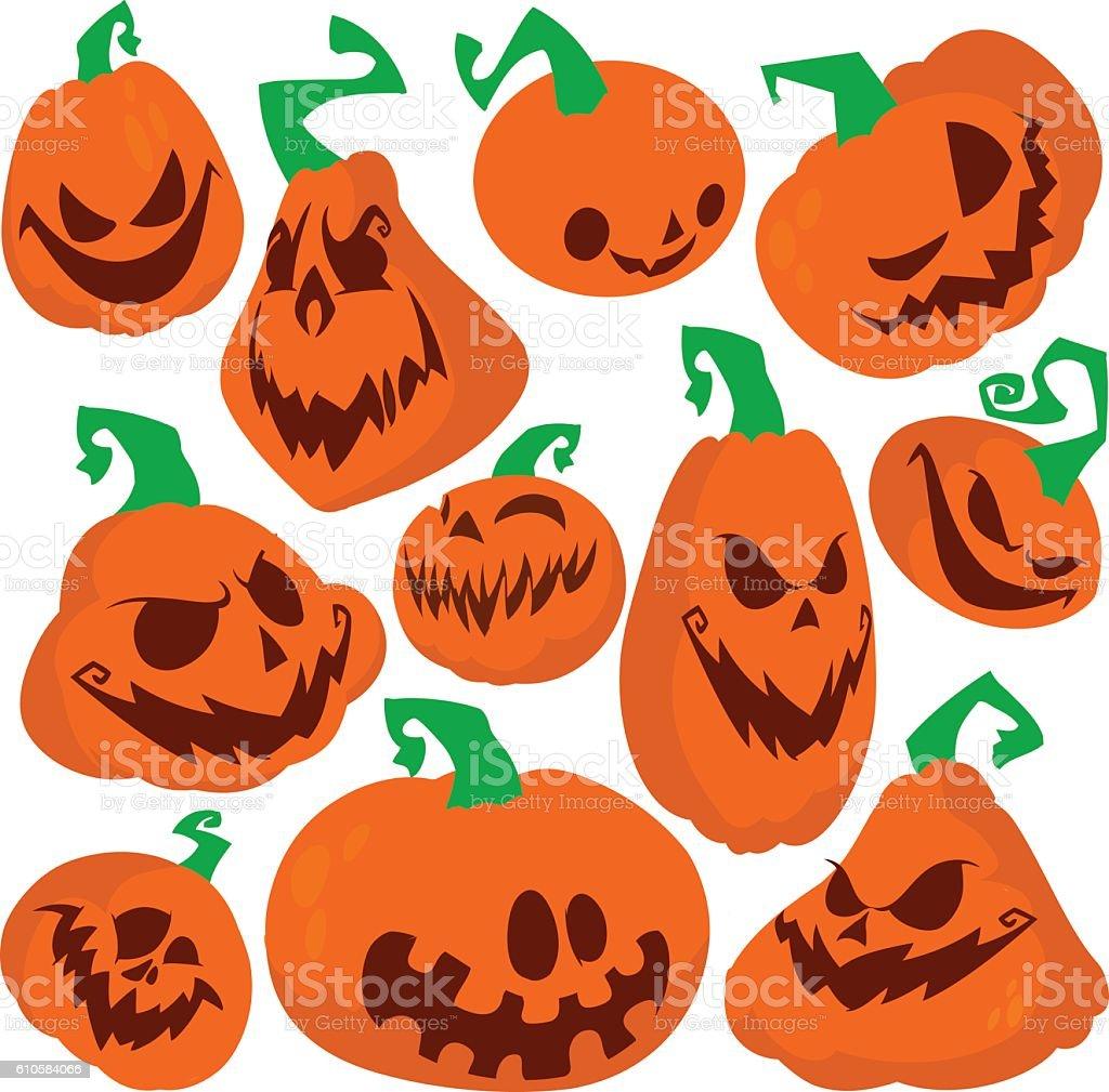 funny halloween pumpkins set vector illustration stock vector art