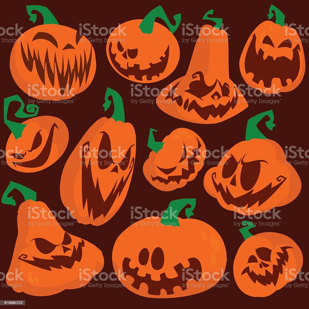 Funny Halloween Pumpkins Set Vector Illustration Stock Illustration Download Image Now Istock