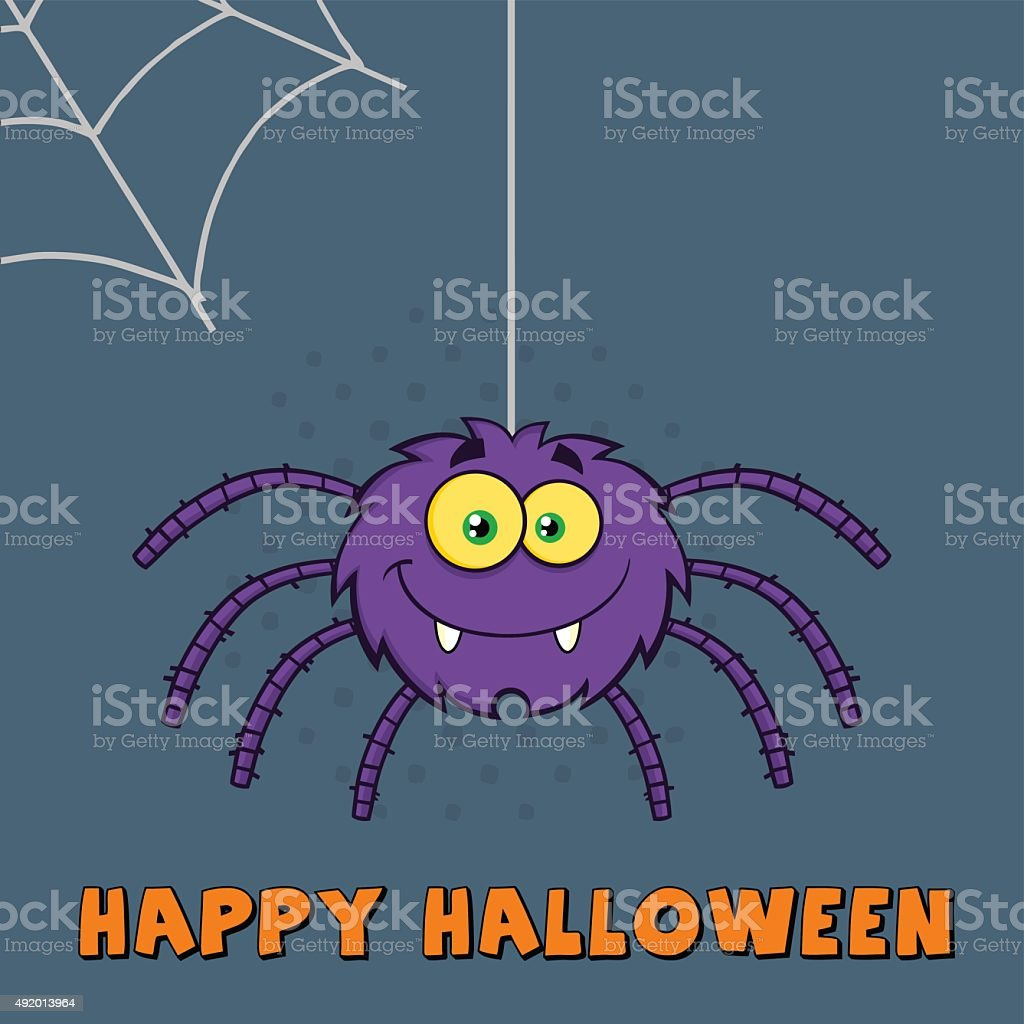 funny halloween spider with text and background stock vector art