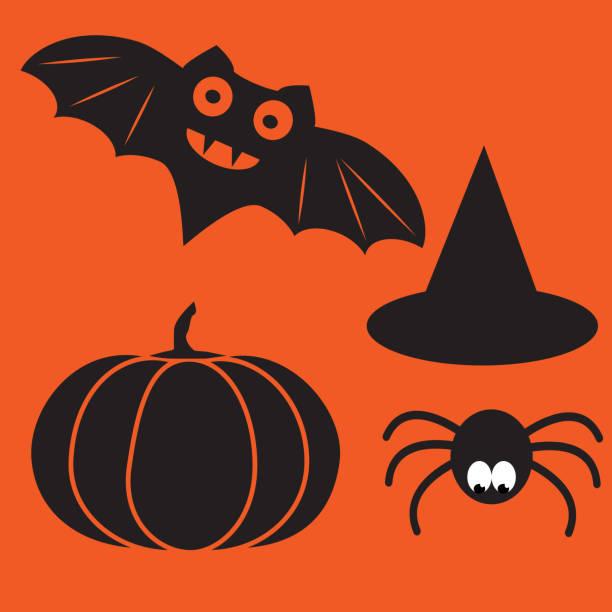 lustige halloween vector mysterium vampir silhouetten. dunkle gruselige fledermäuse monster aus orangem hintergrund isoliert. - megabat stock-grafiken, -clipart, -cartoons und -symbole