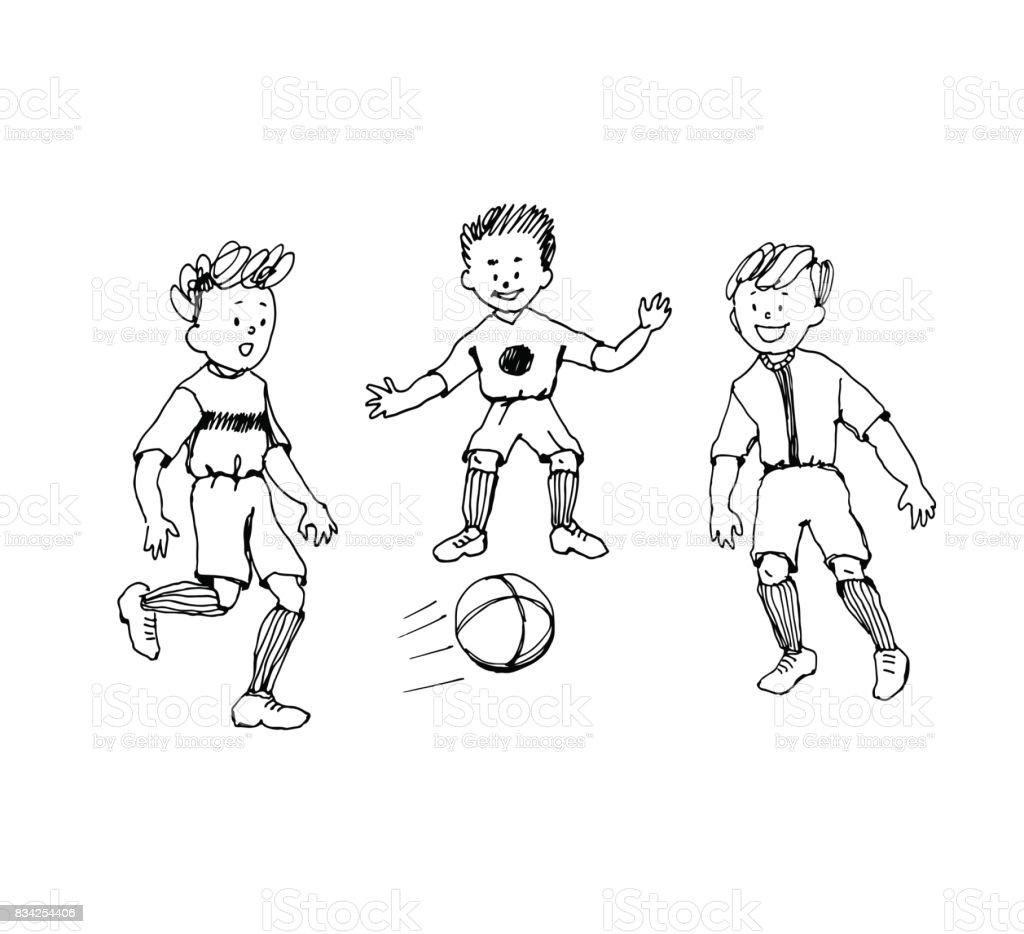 Lustige Handgezeichnete Cartoon Doodle Kinder Fussball